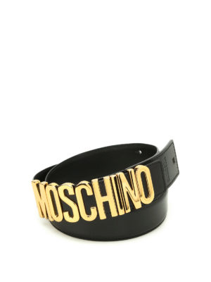 Moschino: belts - Logo lettering buckle leather belt