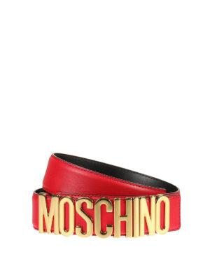 Moschino: belts - Metal logo lettering leather belt