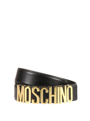 Moschino: belts - Metal logo lettering leather belt