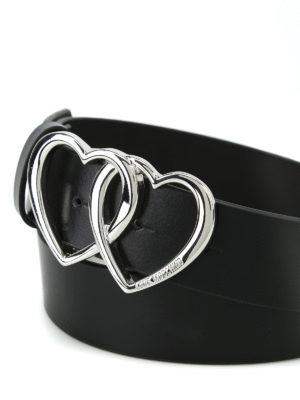 Moschino: belts online - Heart buckle black leather belt