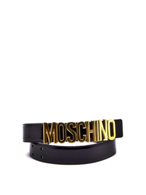 Moschino: belts online - Leather belt with logo