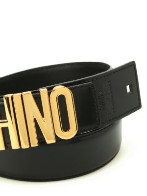 Moschino: belts online - Logo lettering buckle leather belt