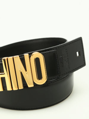 Moschino: belts online - Logo lettering calf leather belt