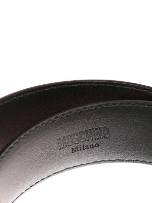 Moschino: belts online - Metal logo lettering leather belt
