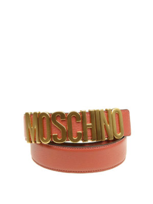 MOSCHINO: cinture - Cintura Moschino in pelle rosa