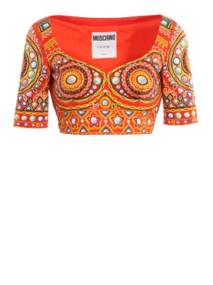 Moschino: blouses - Patterned cotton crop top