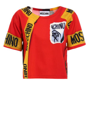 Moschino: blouses - Printed satin boxy blouse