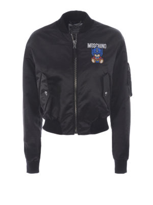 Moschino: bombers - Satin cropped bomber with patches