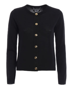 Moschino Boutique: cardigans - Gold-tone buttoned wool cardigan