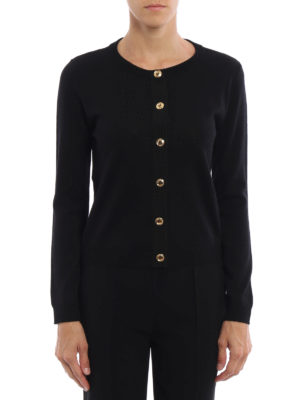 Moschino Boutique: cardigans online - Gold-tone buttoned wool cardigan
