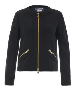 Moschino Boutique: casual jackets - Zip detailed crew neck jacket