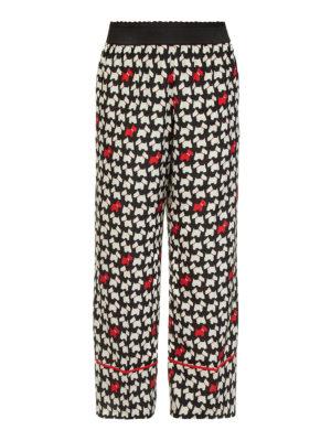 Moschino Boutique: pantaloni casual - Pantaloni in seta con stampa Westie
