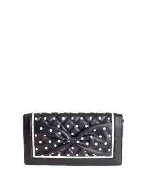 Moschino Boutique: clutches - Polka-dots printed leather clutch