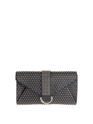 Moschino Boutique: clutches - Stud embellished leather clutch