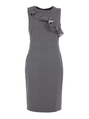 Moschino Boutique: cocktail dresses - Flounced wool blend sheath dress