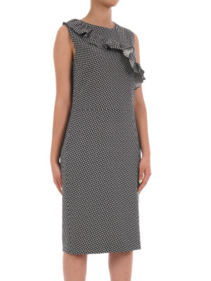 Moschino Boutique: cocktail dresses online - Flounced wool blend sheath dress