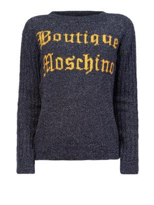 Moschino Boutique: maglia collo rotondo - Maglia in lana bouclé con logo a contrasto