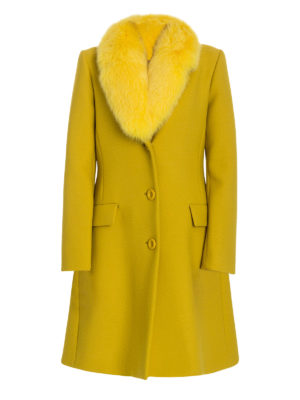 Moschino Boutique: knee length coats - Fur collar fitted coat