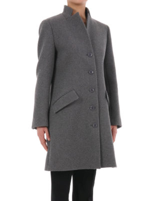 Moschino Boutique: knee length coats online - Ribbed wool blend classic coat