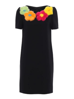 Moschino Boutique: knee length dresses - Fur flowers cady dress