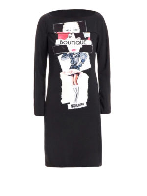 Moschino Boutique: knee length dresses - Long sleeve printed fitted dress