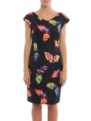 Moschino Boutique: knee length dresses online - Butterfly print brocade dress