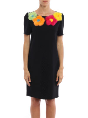 Moschino Boutique: knee length dresses online - Fur flowers cady dress