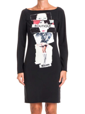 Moschino Boutique: knee length dresses online - Long sleeve printed fitted dress