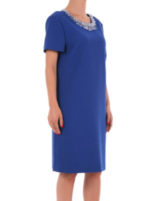Moschino Boutique: knee length dresses online - Short sleeve jewel wool dress