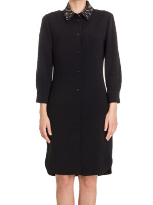 Moschino Boutique: knee length dresses online - Studded collar crepe shirt dress
