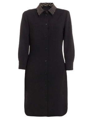 Moschino Boutique: knee length dresses - Studded collar crepe shirt dress