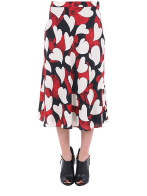 Moschino Boutique: Knee length skirts & Midi online - Printed crepe flared midi skirt