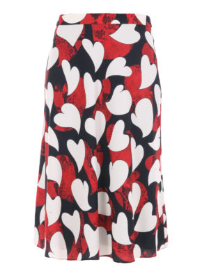 Moschino Boutique: Knee length skirts & Midi - Printed crepe flared midi skirt