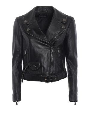 Moschino Boutique: giacche in pelle - Giacca in pelle profilata da catenine