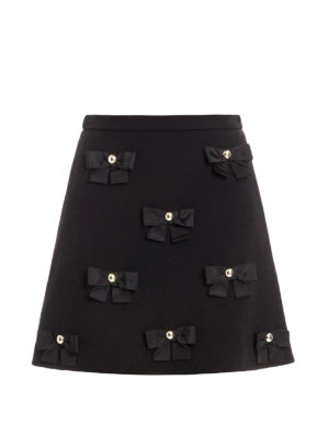 Moschino Boutique: mini skirts - Bow detailed A-line crepe skirt