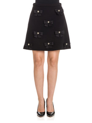 Moschino Boutique: mini skirts online - Bow detailed A-line crepe skirt