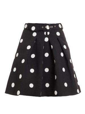 Moschino Boutique: mini skirts - Polka-dot jacquard flared skirt