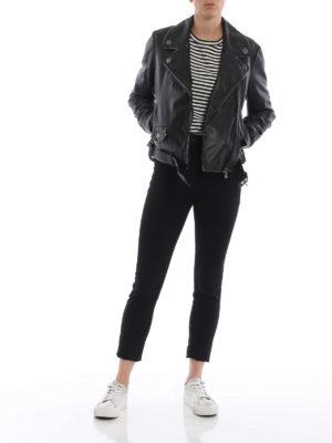 Moschino Boutique: giacche in pelle online - Giacca in pelle profilata da catenine
