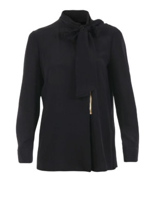 Moschino Boutique: shirts - Silk blend self-tie collar shirt