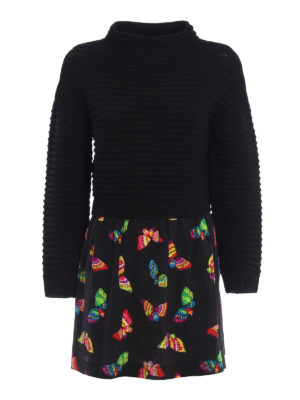 Moschino Boutique: short dresses - Knitted wool dress with silk skirt