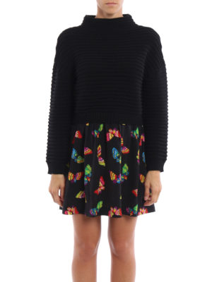 Moschino Boutique: short dresses online - Knitted wool dress with silk skirt