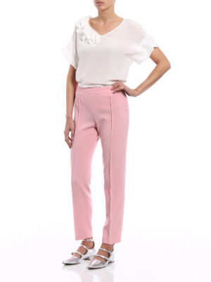 Moschino Boutique: Tailored & Formal trousers online - Stretch crepe cigarette trousers