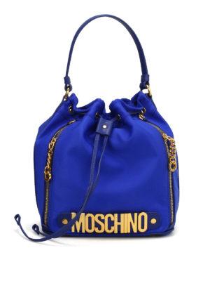 Moschino: Bucket bags - Logo lettering satin bucket bag
