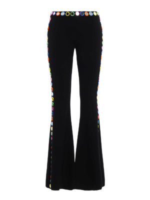 Moschino: casual trousers - Mirror appliques flared trousers