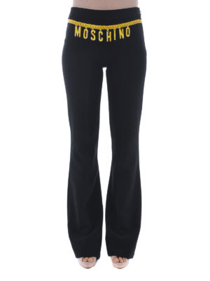 Moschino: casual trousers online - Printed belt flared cady trousers