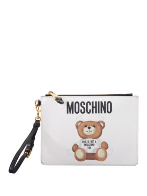 Moschino: clutches - Bear and logo print clutch