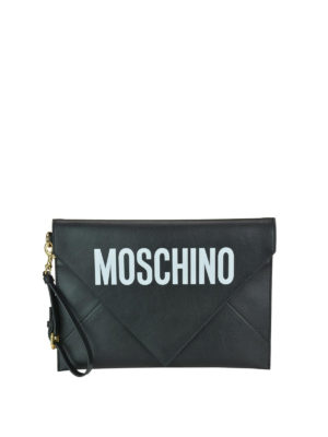 MOSCHINO: pochette - Clutch in pelle nera a busta