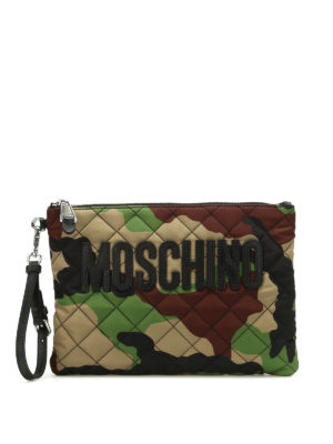 Moschino: clutches - Camu quilted nylon clutch
