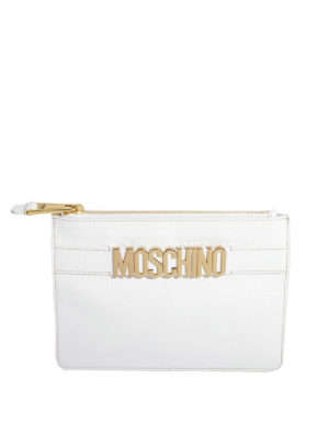Moschino: clutches - Hammered leather clutch with logo