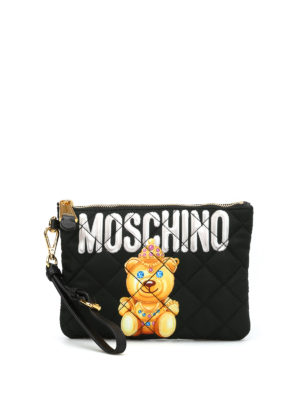 Moschino: clutches - Jewel bear quilted satin clutch